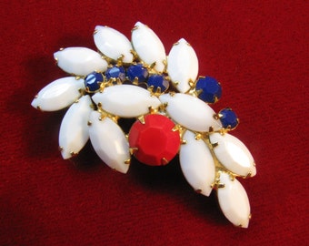 Vintage Red, White and Blue Rhinestone Brooch