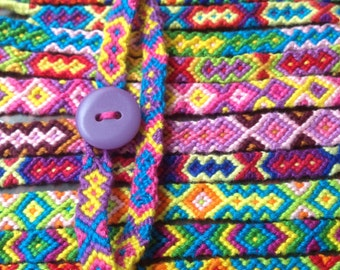 Tribal friendship bracelet with button