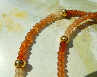 Hessonite Garnet cinnamon stone necklace chain