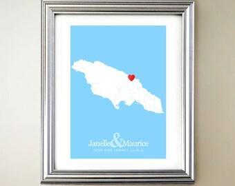 Jamaica Custom Vertical Heart Map Art - Personalized names, wedding gift, engagement, anniversary date
