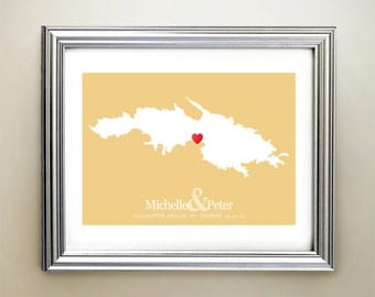St Thomas Custom Horizontal Heart Map Art - Personalized names, wedding gift, engagement, anniversary date