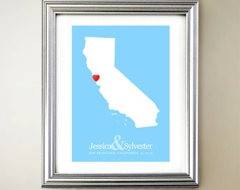 California Custom Vertical Heart Map Art - Personalized names, wedding gift, engagement, anniversary date