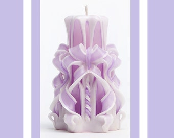 Carved Candles - Purple Candles - Perfect gift - Pillar candles