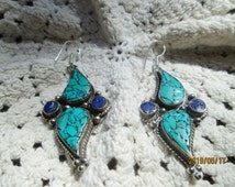 Vintage Sterling Silver Genuine Turquoise & Lapis Lazuli Indian Dangle Sterling Silver 925 Earrings 2 1/2 Inches Long, Wt. 19.4 Grams