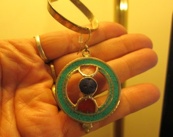 Handcrafted Tibetan Silver Genuine Red Coral, Lapis Lazuli & Turquoise Native Earrings w/925 French Ear Wires , 17,7 Grams