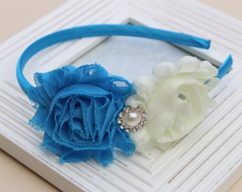 Blue and ivory headbands, azure blue headbands, blue flower girl headbands, satin girls headband, ivory and blue hair accessory girls