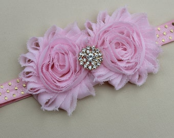 Light pink headband, baby girls elastic headband, light pink hair accessory, pink shabby chic headband, light pink and gold headband girls