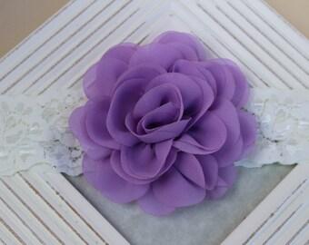 Lavender headband, lace headband, lavender flower girl headband, lavender and ivory headband, toddler headband, lavender flowers chiffon