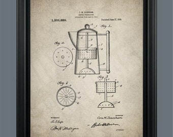 Vintage Coffee Percolator  - Patent Print- Instant Download - Ready to Print - #010