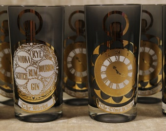 The Time Is Now Culver HiBall Tumblers Clock Stopwatch Set of 7 Seven