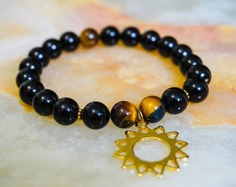 Mens Bracelet,Black Onyx and Tiger Eye Bracelet,Mens Jewelry,Beaded Bracelet,Star Charm,Mens Bracelet,Black Bracelet,Gemstone Jewelry
