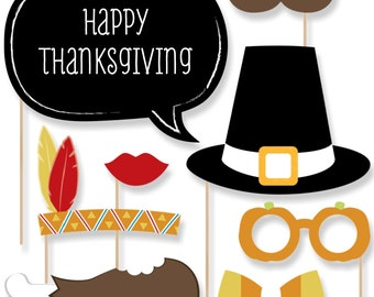 20 pc. Give Thanks Photo Booth Props - Thanksgiving Party Prop Kit with Mustache, Hat, Bow Tie, Glasses and Custom Talk Bubble