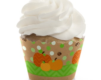12 Pumpkin Patch Cupcake Wrappers - Cupcake Decorations for a Baby Shower or Birthday Party