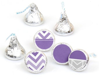 Hershey Kiss® Stickers - Chevron Purple - Round Candy Label Party Favors - Baby, Birthday or Bridal - Hershey Kisses Labels - 108 per Sheet