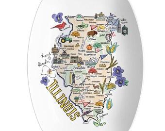 Illinois Platter, Illinois Map Platter, Illinois State Platter - High End Plastic