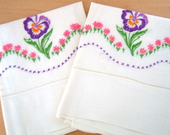 Vintage Pansy Pillow Cases Hand Embroidered Flowers by Grandma - Wedding Gift
