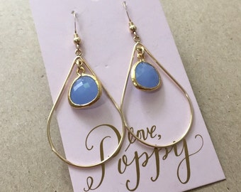 Teardrop Earrings with Iridescent Stones