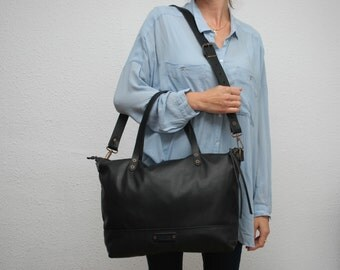 tote Leather bag , black color,soft leather