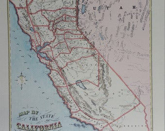 Vintage California Map Poster - 1853