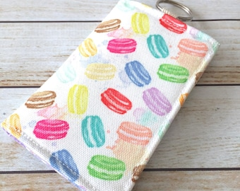 Limited Edition Macarons Fabric Wallet, Credit Card Wallet, ID Wallet, Cash Wallet, Business Card Case, Keychain Wallet, Velcro Wallet