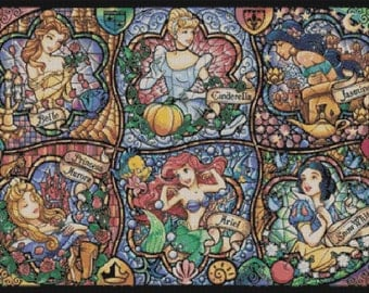 Counted Cross Stitch Pattern, Stained Glass, Disney Princesses, Ariel, Cinderella, Paper Pattern or Cross Stitch Kit