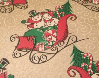 Fun Mr & Mrs Snowman Wrapping Paper Christmas