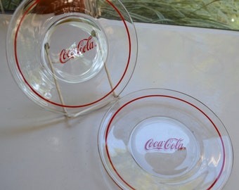 "Coca Cola - Coke - Clear Glass Salad Plate - 8"" Diameter - Set of 2 - Red Logo and Red Border"