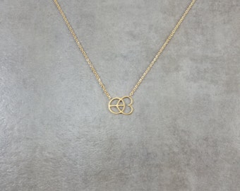 Peace and Love [GOLD] Plated Necklace Gift Box Hippie Hippy Trendy Jewelry World Peace