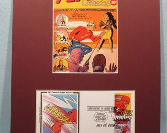 DC Comic Book Super Hero Flash and First Day Cover of the Flash stamp