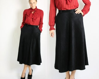 Vintage 70's 80's Black Corduroy High Waisted A-Line Maxi Long Skirt - Small to Medium