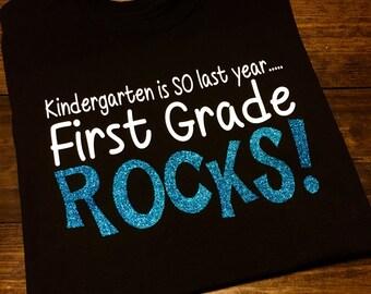 Teacher Shirts, Teacher T-Shirt, Back to School Shirt, Teacher Shirt, Preschool, Kindergarten, First Grade Is So Last Year ROCKS, Teacher T