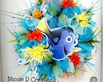 Summer Wreath -Deco Mesh Wreath- Front Door Wreaths- Disney Wreath- Nemo and Dori Wreath