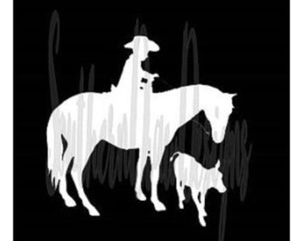 Little Cowboy Decal - Horse Decal -Vehicle Decal - Western Decal
