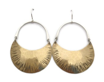 Large Brass and Silver Crescent Moon Hoops >>> Mixed Metal Brass and Silver Dangle Earrings >>> Organic Hammered Line Texture, Curved Design