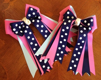 Horse Show Hair Bows/Classic Equestrian Clothing/Pink Navy Blue