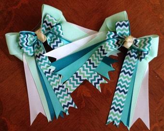 Bows for Horse Shows, Chevron/Green Teal White