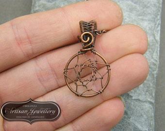 Dream catcher necklace ~ Dainty boho pendant ~ Boho dream catcher pendant ~ Alternative jewelry gift for bridesmaid ~ Copper dreamcatcher