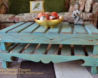 Country Cottage Rustic Reclaimed Wood Coffee Table in Duck Egg Blue Decorative Carving & Copper Tacks Handcrafted to Order