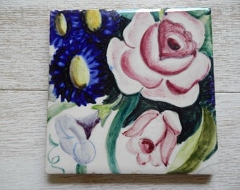 Vintage Hand Painted Ceramic Tile!