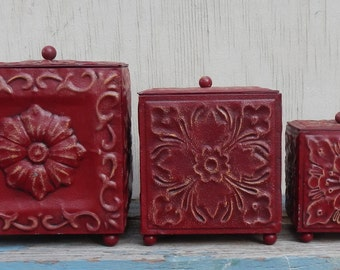 Red Metal Decorative Boxes!