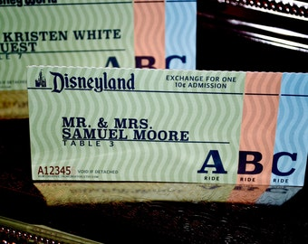 Theme Park Collection - Vintage Ticket Book Place Cards