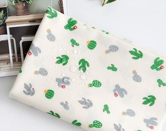 Laminated Cactus Pattern Green Color Cotton Fabric by Yard