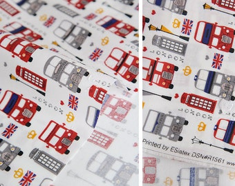 Laminated London Buses Pattern Cotton Fabric by Yard
