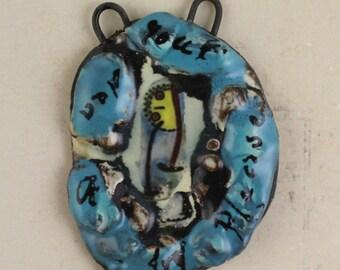 "Handmade decal ceramic glazed pendant art beads shard ""purplexed"""