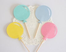 12 balloon colorful cupcake top, Birthday Party, Baby Shower, Birthday cupcake Top, blue, pink ,yellow, mint