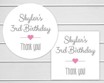 Birthday Stickers, Birthday Party Favor Stickers, Envelope Seals, Birthday Party Thank You Stickers (#038)