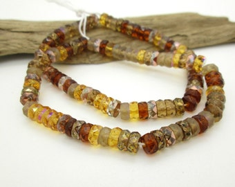 Czech Glass Faceted Rondelle Bead, Glass Spacer Bead, Autumn Colors Bead, Glass Bead Mix, 6x4mm (60 pieces)
