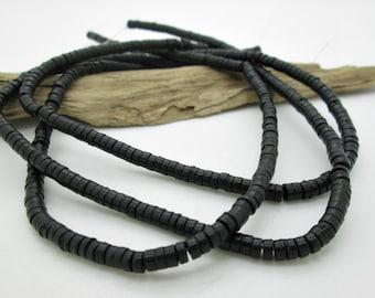 "Black Howlite 4-2mm Heishi Bead, Southwest Heishi Bead, Black Stone Bead, (8"" loose)"