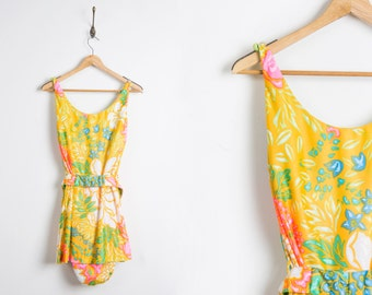 Vintage 1970s swimsuit // 70s tropical bathing suit