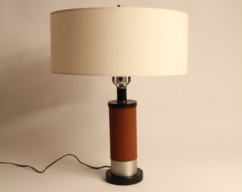 23 in TEAK TABLE LAMP minimalist modern vintage 1970